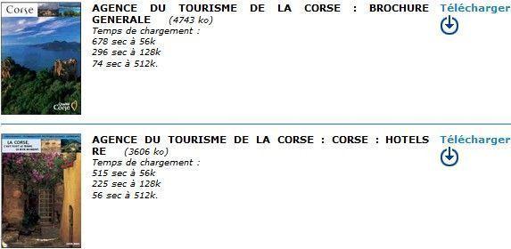 Brochures touristiques sur la Corse (PDF)